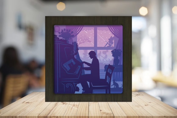 Piano 2 3D Paper Cutting Light Box Graphic 3D Shadow Box By LightBoxGoodMan