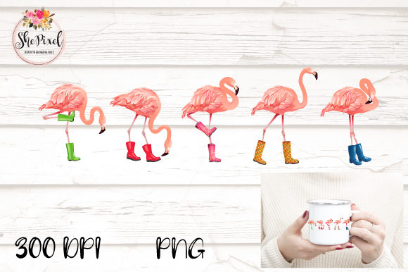 Print on Demand: Pink Flamingo Bird Summer Clipart Grafik Illustrationen von ShePixel