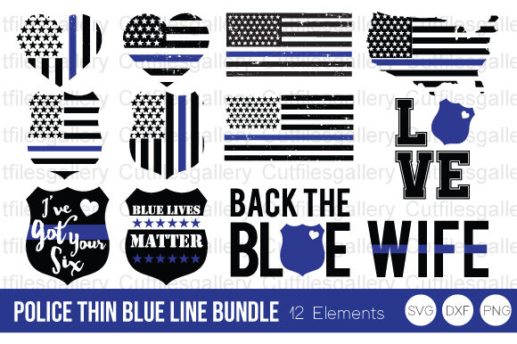 Download Free Police Thin Blue Line Bundle Graphic By Cutfilesgallery for Cricut Explore, Silhouette and other cutting machines.
