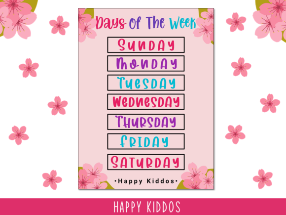 Poster Days of the Week (Sakura Themed) Graphic K By Happy Kiddos - Image 1