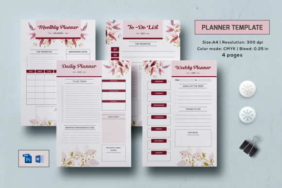 Download Free Printable Daily Planner Template Graphic By Sistecbd Creative for Cricut Explore, Silhouette and other cutting machines.