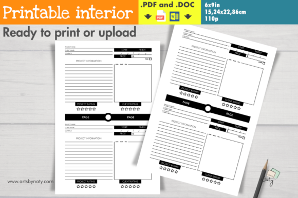 Print on Demand: Projects and Clients Organizer Notebook Graphic KDP Interiors By artsbynaty