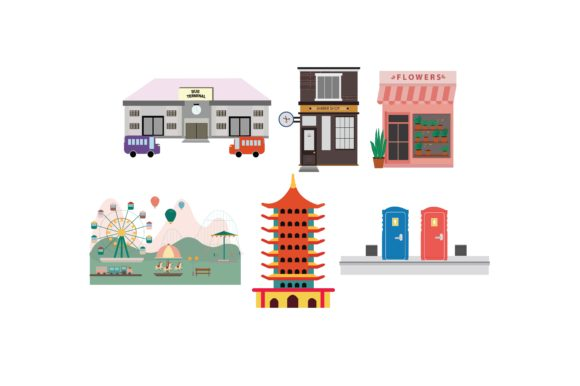 Download Free Public Facilities Colour Graphic Set Graphic By Printablesplazza for Cricut Explore, Silhouette and other cutting machines.
