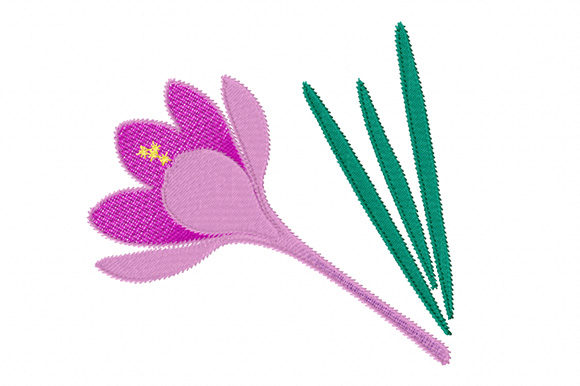 Print on Demand: Purple Crocus Flower Single Flowers & Plants Embroidery Design By EmbArt