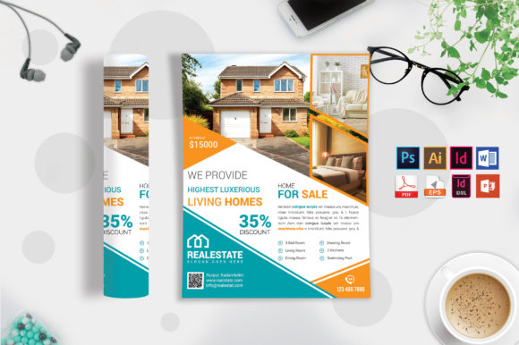 Download Free Real Estate Flyer Template Vol 08 Graphic By Imagine Design for Cricut Explore, Silhouette and other cutting machines.