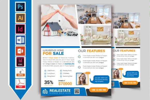 Download Free Real Estate Flyer Template Vol 09 Graphic By Imagine Design for Cricut Explore, Silhouette and other cutting machines.