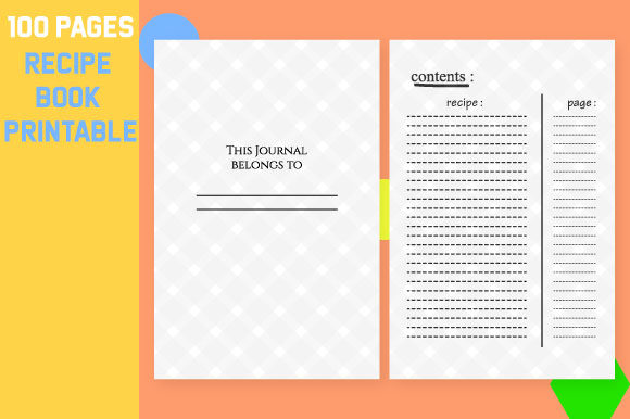 Print on Demand: Recipe Book Printable, Blank Pages Sheet Graphic KDP Interiors By Mah Moud