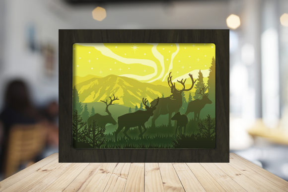 Reindeer 3D Paper Cutting Light Box Graphic 3D Shadow Box By LightBoxGoodMan
