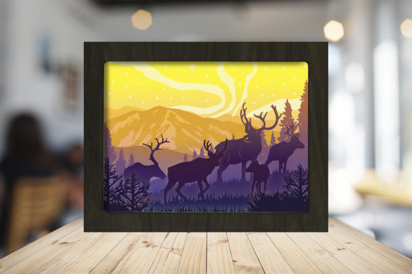 Reindeer 3D Paper Cutting Light Box Graphic Download