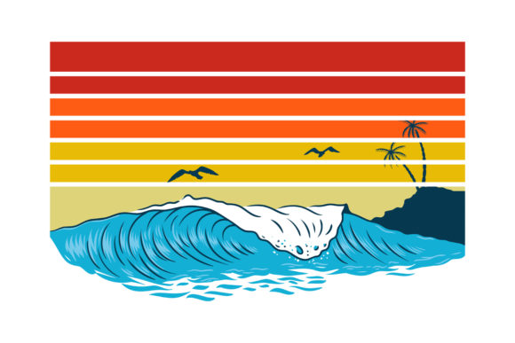 Print on Demand: Retro Sunset with Waves Horizontal Graphic Logos By SunandMoon - Image 1