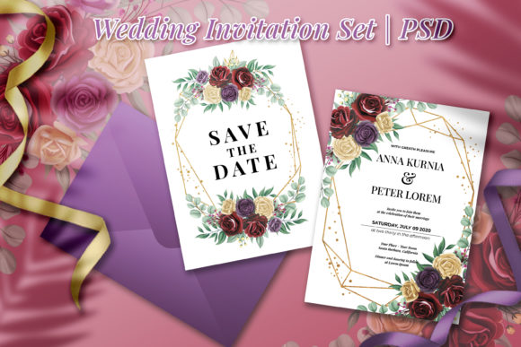 Download Free Rose Flower Wedding Invitation Graphic By Orchidart Creative for Cricut Explore, Silhouette and other cutting machines.