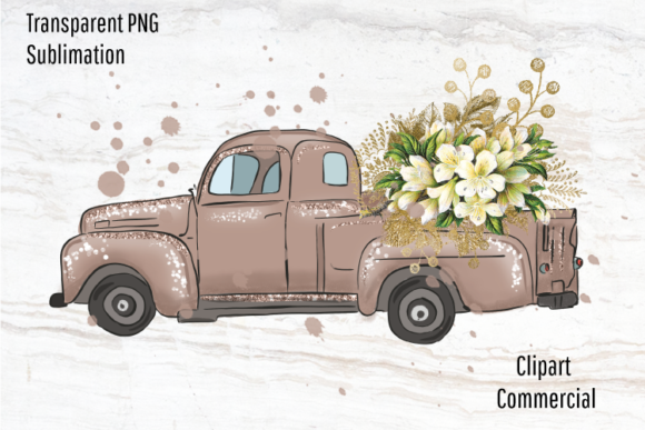 Print on Demand: Rose Gold Vintage Truck, Rustic Clipart Graphic Illustrations By Blueberry Jam Design
