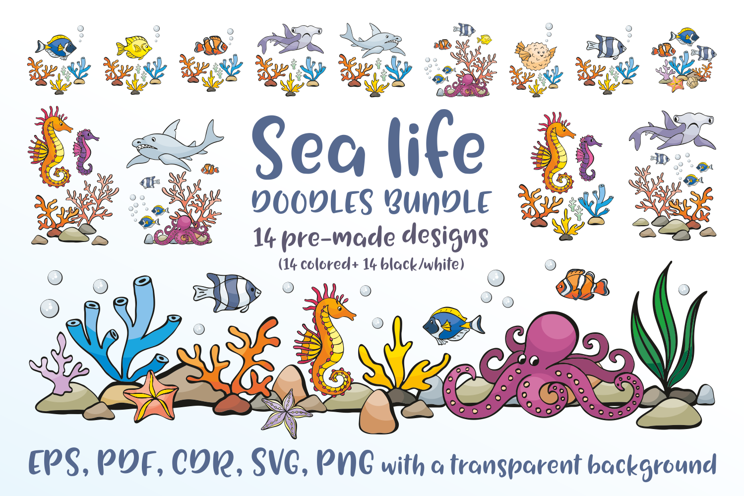 Download Free Sea Life Doodles Bundle Graphic By Olga Belova Creative Fabrica for Cricut Explore, Silhouette and other cutting machines.