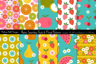 Seamless Retro Fruit & Floral Patterns Graphic Patterns By Melissa Held Designs