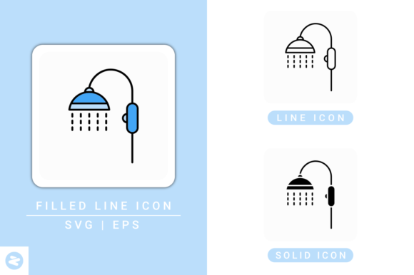Print on Demand: Shower Icons Set Graphic Icons By zenorman03