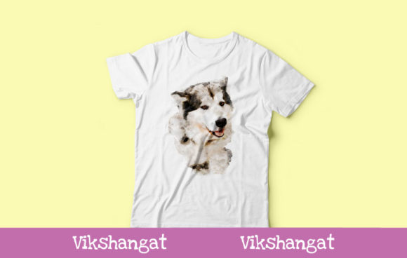 Download Free Siberian Husky Puppy Watercolor Art Graphic By Vikshangat for Cricut Explore, Silhouette and other cutting machines.