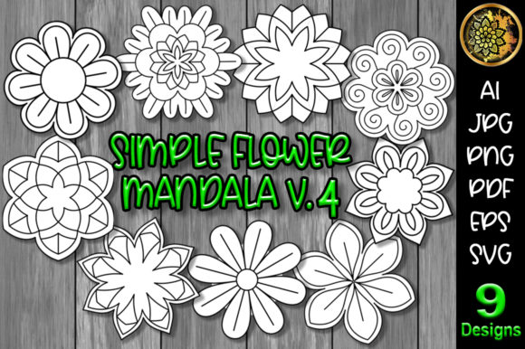Print on Demand: Simple Flower Mandala Set-4 Graphic Illustrations By V-Design Creator