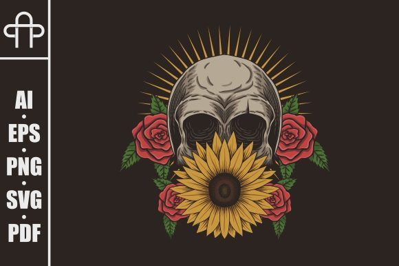 Download Free Skull Flower Decoration Vector Graphic By Andypp Creative Fabrica for Cricut Explore, Silhouette and other cutting machines.