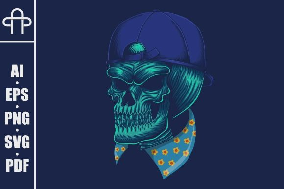 Print on Demand: Skull Head Cap Vector Illustration Graphic Illustrations By Andypp