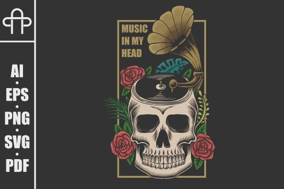 Print on Demand: Skull Music in Head Vector Illustration Graphic Illustrations By Andypp