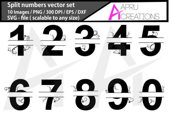 Print on Demand: Split Numbers Silhouette Graphic Icons By aparnastjp