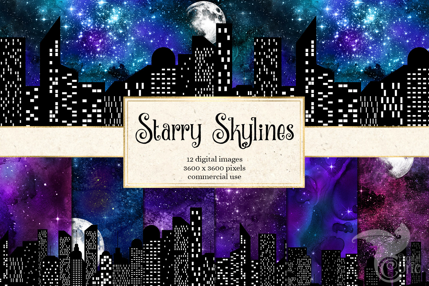 Download Free Starry Skylines Digital Paper Graphic By Digital Curio for Cricut Explore, Silhouette and other cutting machines.