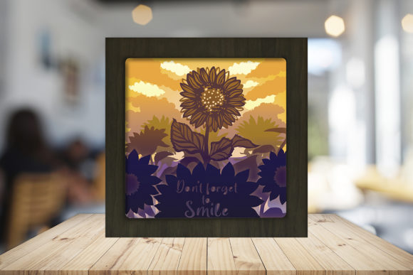 Sunflower 1 3D Paper Cutting Light Box Graphic 3D Shadow Box By LightBoxGoodMan