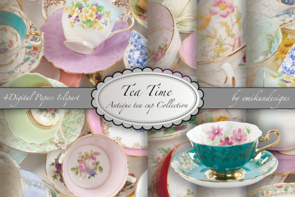 Download Free Tea Time Collection Of Antique Teacups Graphic By Emikundesigns for Cricut Explore, Silhouette and other cutting machines.