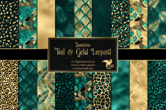 Print on Demand: Teal and Gold Leopard Digital Paper Grafik Hintegründe von Digital Curio