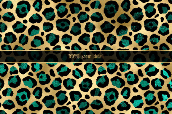 Print on Demand: Teal and Gold Leopard Digital Paper Graphic Backgrounds By Digital Curio - Image 3