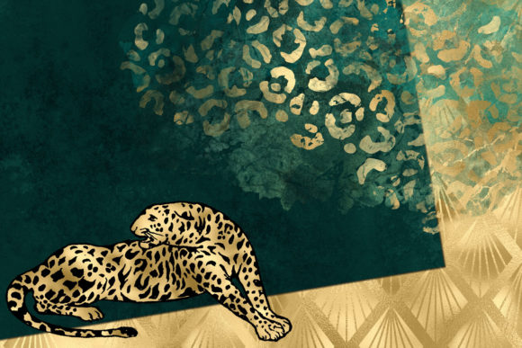 Print on Demand: Teal and Gold Leopard Digital Paper Graphic Backgrounds By Digital Curio - Image 5