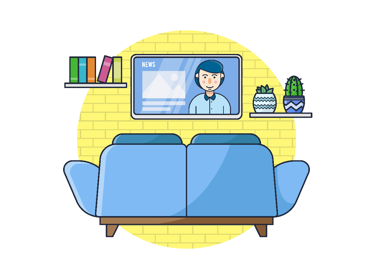 Download Free Television Room Watching The News Icon Graphic By Bayu Febrianto for Cricut Explore, Silhouette and other cutting machines.