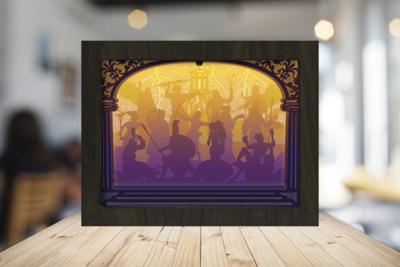 The Olympian Gods Shadow Box Graphic 3D Shadow Box By LightBoxGoodMan