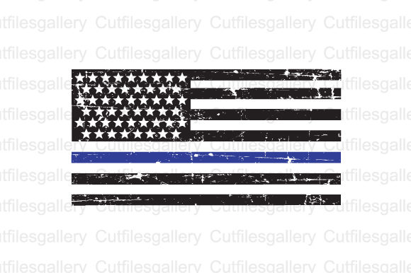 Download Free Thin Blue Line Distressed Flag Graphic By Cutfilesgallery for Cricut Explore, Silhouette and other cutting machines.