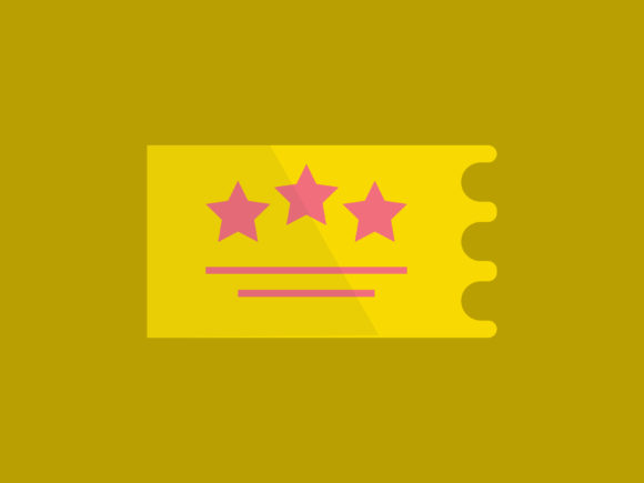 Download Free Three Gold Star Ticket Movie Icon Graphic By Meandmydate for Cricut Explore, Silhouette and other cutting machines.