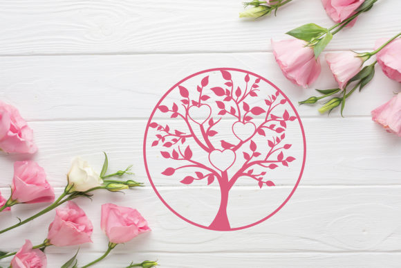 Download Free Tree Circle Heart Frame Graphic By Diycuttingfiles Creative for Cricut Explore, Silhouette and other cutting machines.