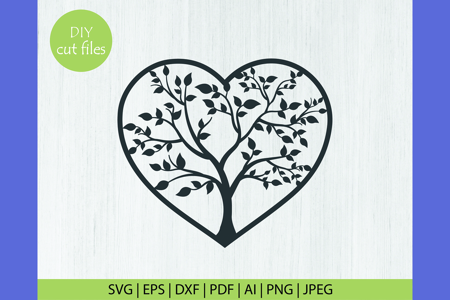 Download Free Tree Heart Frame Cut File Graphic By Diycuttingfiles Creative for Cricut Explore, Silhouette and other cutting machines.
