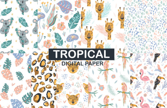 Print on Demand: Tropical Animal Seamless Pattern Gráfico Moldes Por Zolotovaillustrator