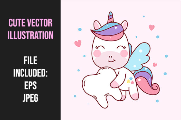 Print on Demand: Unicorn Flying Bring Teeth Graphic Illustrations By Tosca Digital