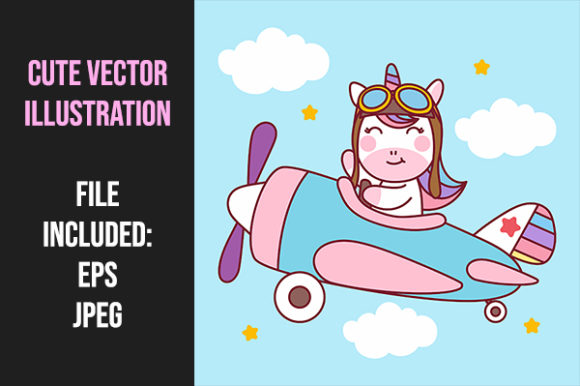 Print on Demand: Unicorn Pilot Flying with Airplane Graphic Illustrations By Tosca Digital
