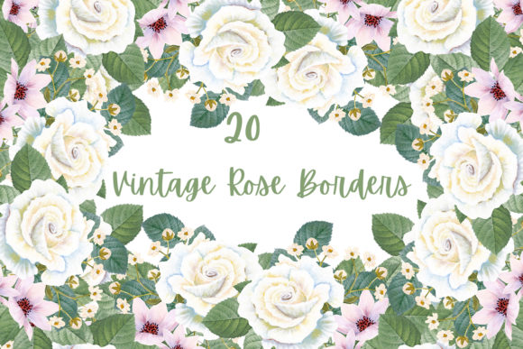 Print on Demand: Vintage Rose Borders Graphic Illustrations By Andreea Eremia Design