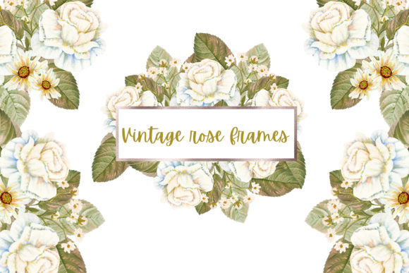Print on Demand: Vintage Rose Frames Graphic Illustrations By Andreea Eremia Design