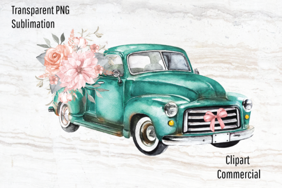 Print on Demand: Vintage Truck, Old Truck Sublimation Graphic Illustrations By Blueberry Jam Design