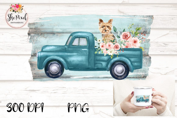 Print on Demand: Vintage Truck Yorkie Watercolor Clipart Graphic Illustrations By Sublimation Hut