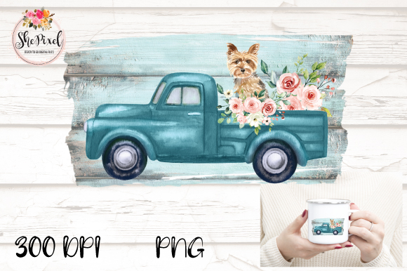 Download Free Vintage Truck Yorkie Watercolor Clipart Graphic By Shepixel for Cricut Explore, Silhouette and other cutting machines.