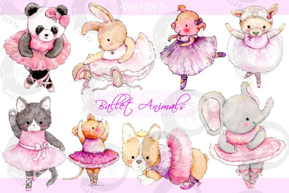 Watercolor Ballet Animals Gráfico Ilustraciones Por Jen Digital Art
