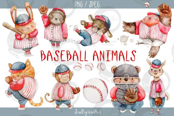 Watercolor Baseball Animals Graphic Illustrations By Jen Digital Art - Image 1
