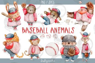 Watercolor Baseball Animals Graphic Illustrations By Jen Digital Art