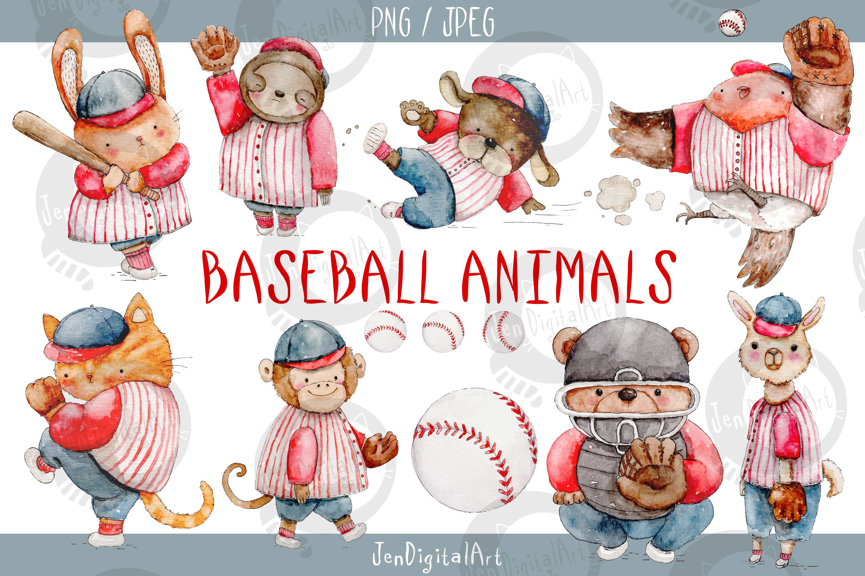 Download Free Watercolor Baseball Animals Graphic By Jen Digital Art for Cricut Explore, Silhouette and other cutting machines.