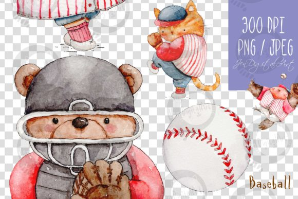 Watercolor Baseball Animals Graphic Illustrations By Jen Digital Art - Image 10